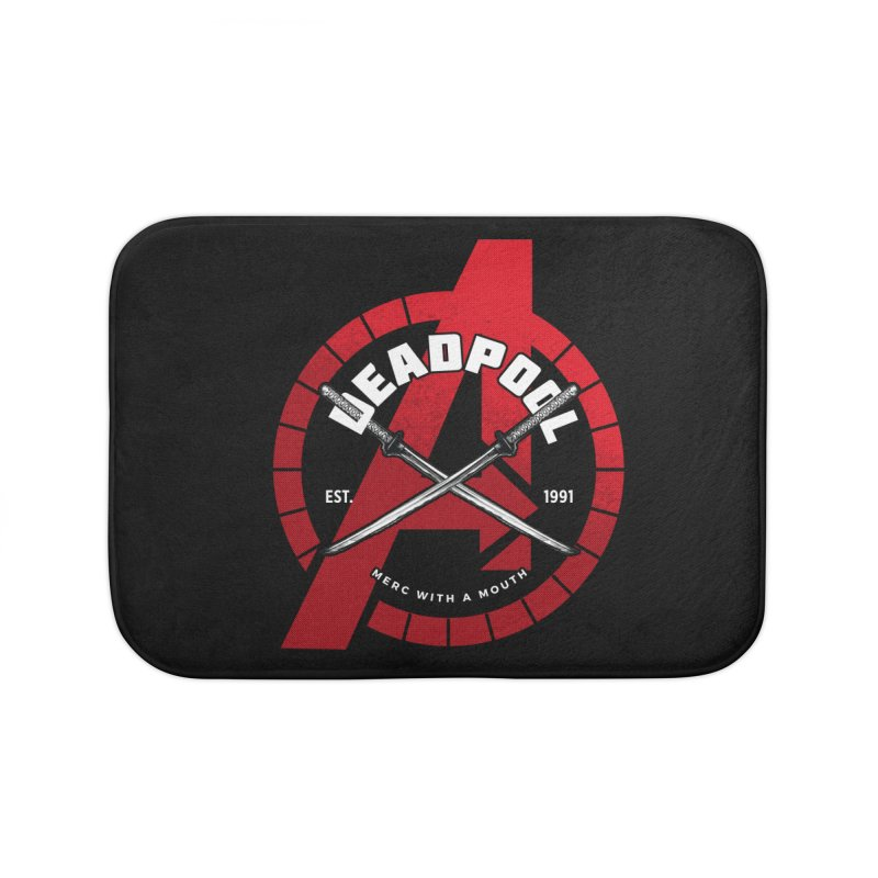 Avengers Assemble: Merc with a mouth Home Bath Mat by halfcrazy designs