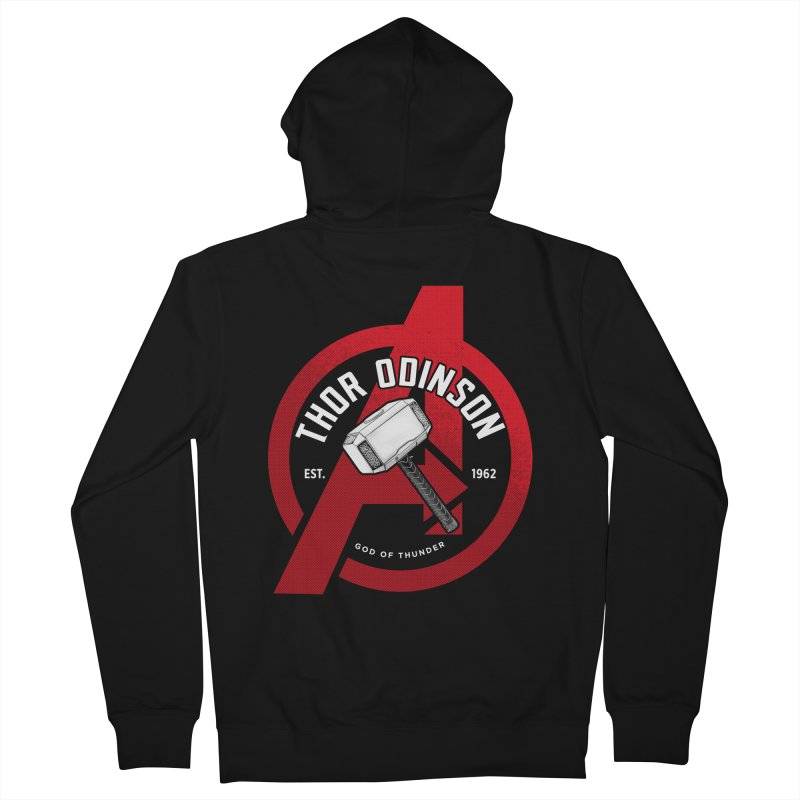 Avengers Assemble: God Of Thunder Men's French Terry Zip-Up Hoody by halfcrazy designs