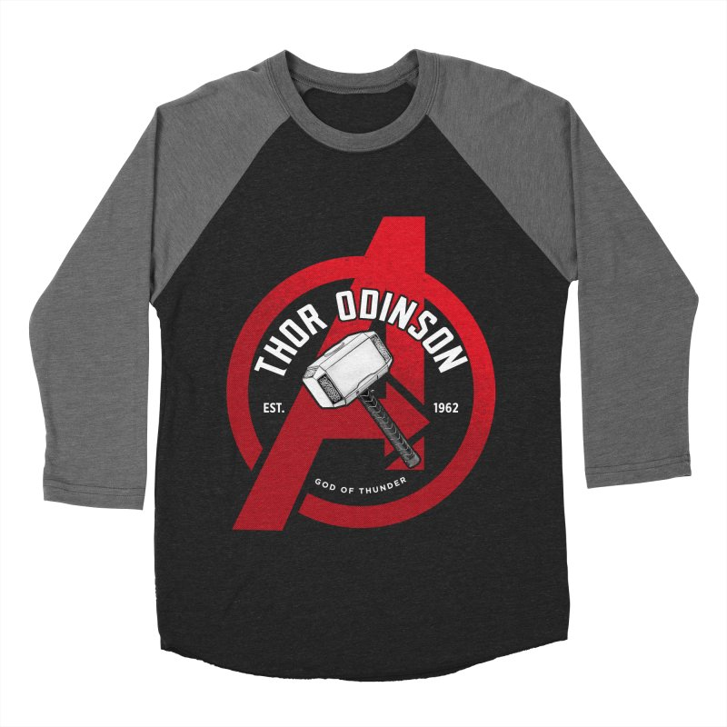 Avengers Assemble: God Of Thunder Men's Baseball Triblend Longsleeve T-Shirt by halfcrazy designs