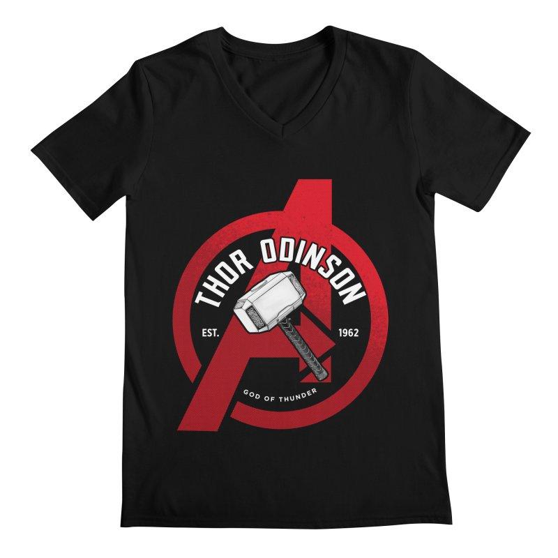 Avengers Assemble: God Of Thunder Men's V-Neck by halfcrazy designs