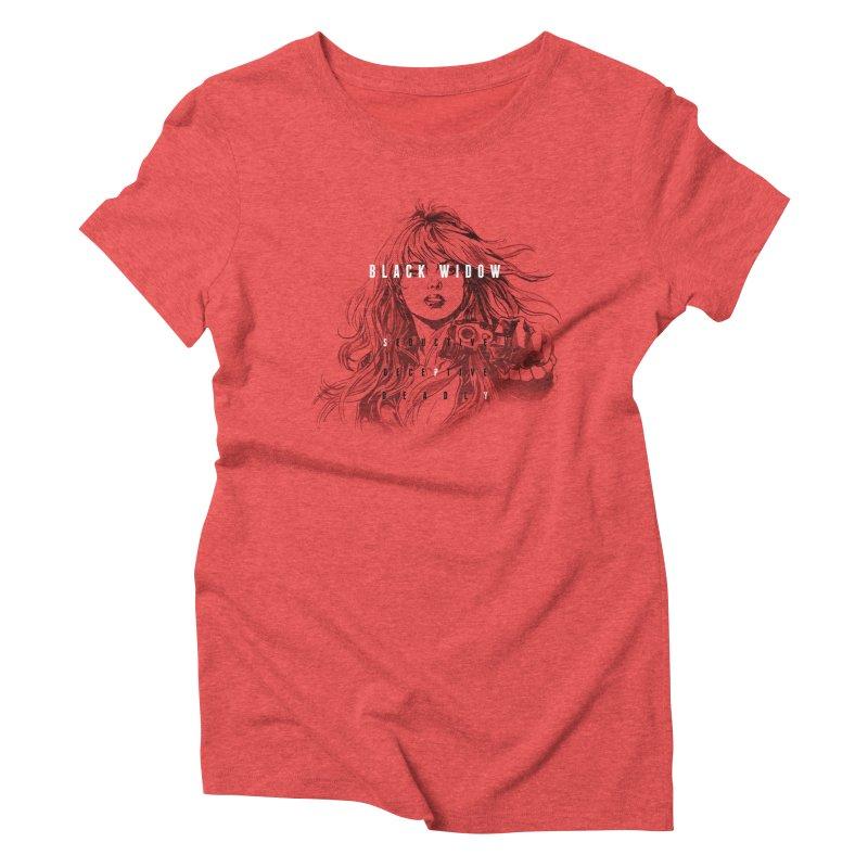 Black Widow Women's T-Shirt by halfcrazy designs