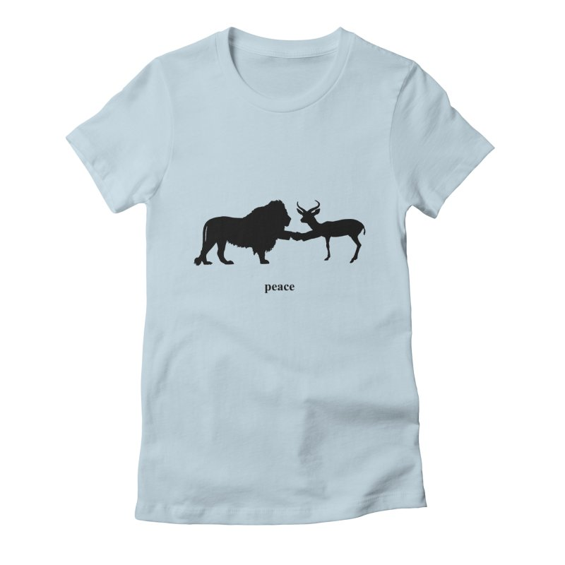 Peace - Lion and Antelope in Women's Fitted T-Shirt Baby Blue by Half Giraffe's Shop