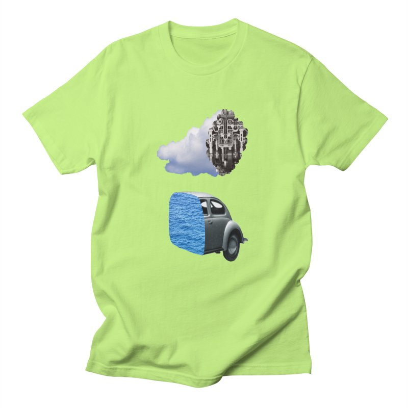 Crossed Sections - Cloud Car in Men's T-shirt Neon Green by Half Giraffe's Shop