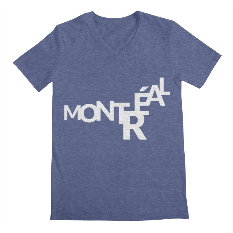 Montreal Island Logo Men's Regular V-Neck by Shirts by Hal Gatewood