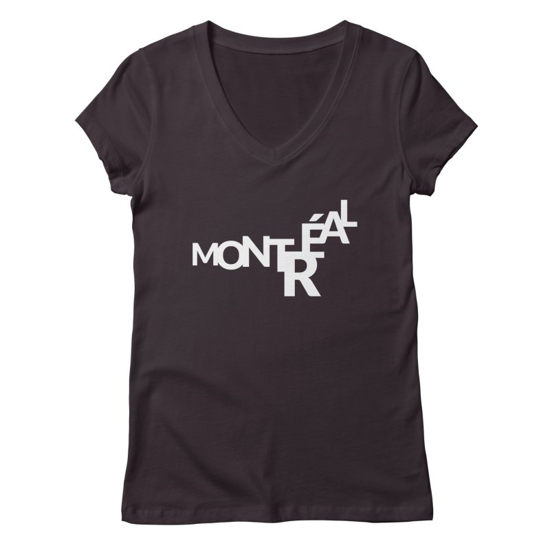 Montreal Island Logo Women's Regular V-Neck by Shirts by Hal Gatewood
