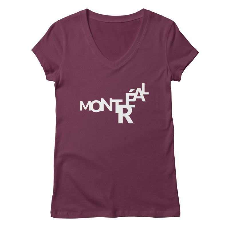 Montreal Island Logo Women's V-Neck by Shirts by Hal Gatewood