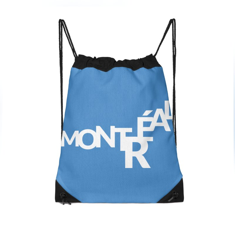 Montreal Island Logo Accessories Drawstring Bag Bag by Shirts by Hal Gatewood