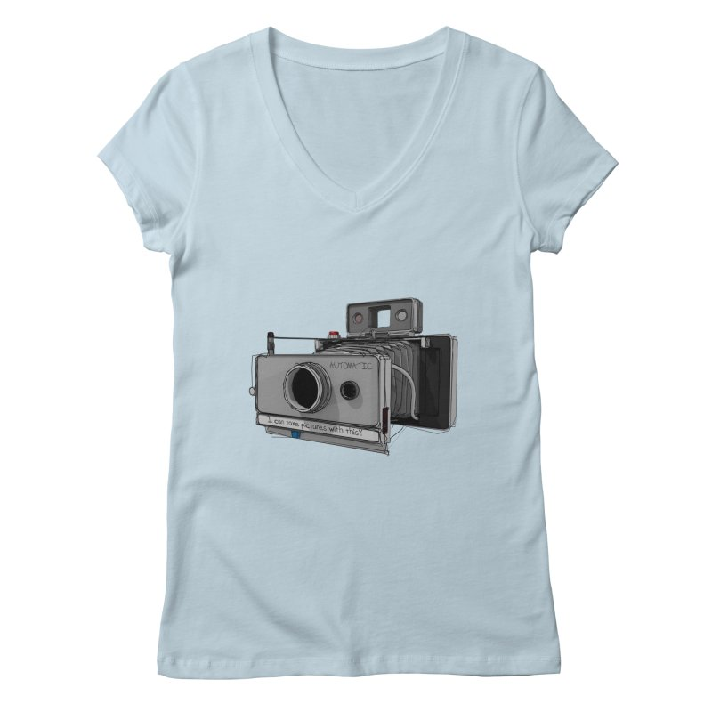 I can take pictures with this? Women's Regular V-Neck by hamenthotep's Artist Shop