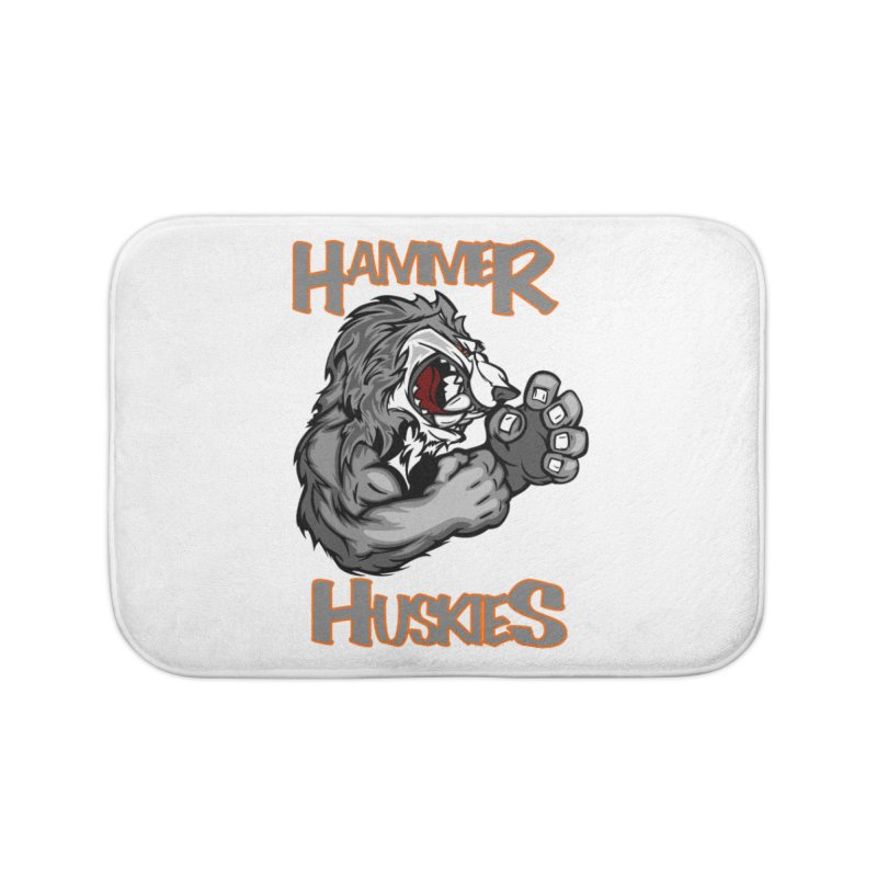 Cartoon Huskie Hands Home Bath Mat by Hammer Huskies's Artist Shop