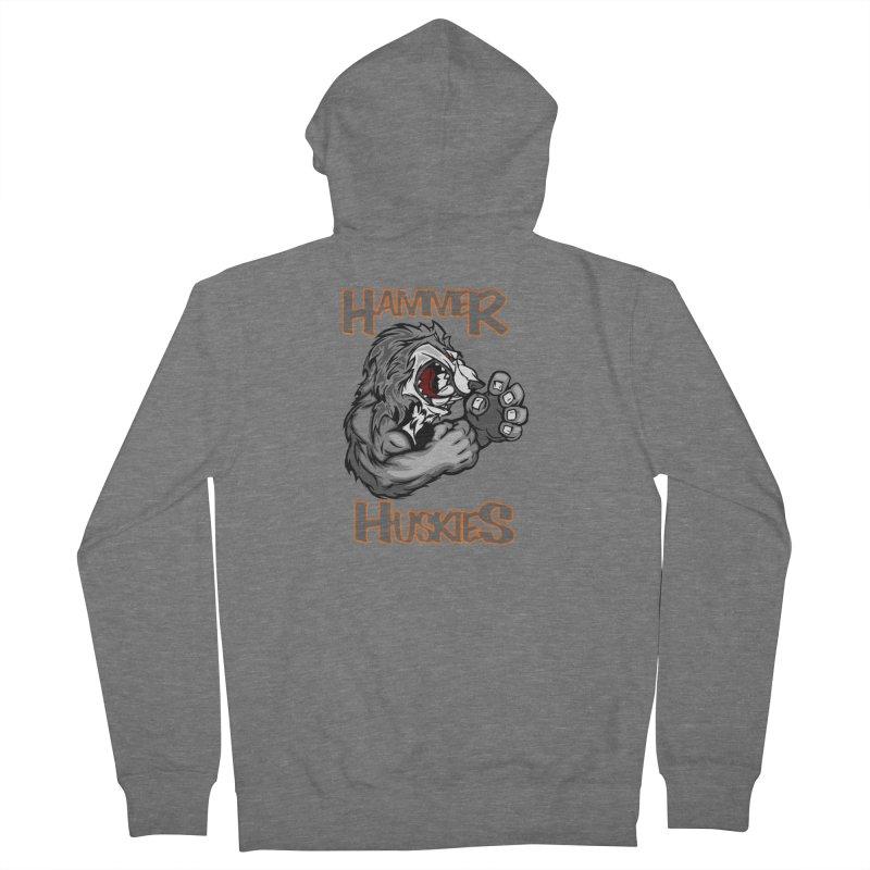 Cartoon Huskie Hands Men's French Terry Zip-Up Hoody by Hammer Huskies's Artist Shop