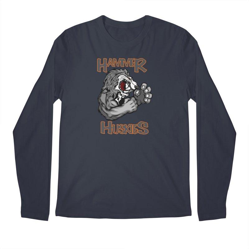 Cartoon Huskie Hands Men's Longsleeve T-Shirt by Hammer Huskies's Artist Shop