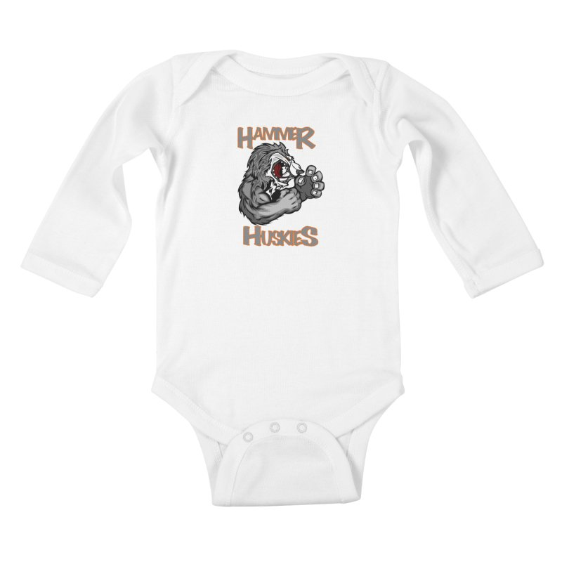 Cartoon Huskie Hands Kids Baby Longsleeve Bodysuit by Hammer Huskies's Artist Shop