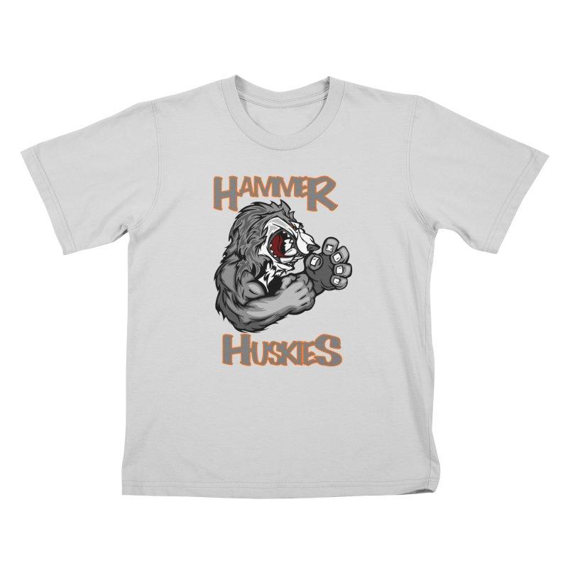 Cartoon Huskie Hands Kids T-Shirt by Hammer Huskies's Artist Shop