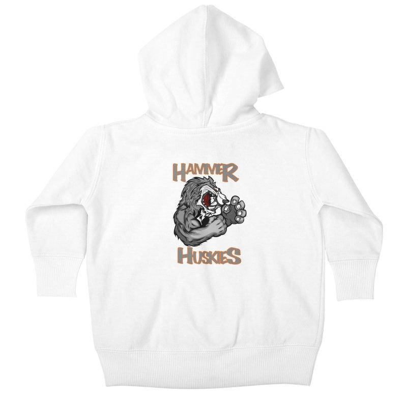 Cartoon Huskie Hands Kids Baby Zip-Up Hoody by Hammer Huskies's Artist Shop