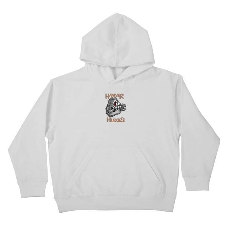Cartoon Huskie Hands Kids Pullover Hoody by Hammer Huskies's Artist Shop