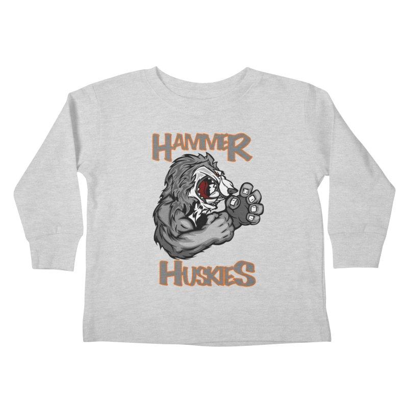 Cartoon Huskie Hands Kids Toddler Longsleeve T-Shirt by Hammer Huskies's Artist Shop
