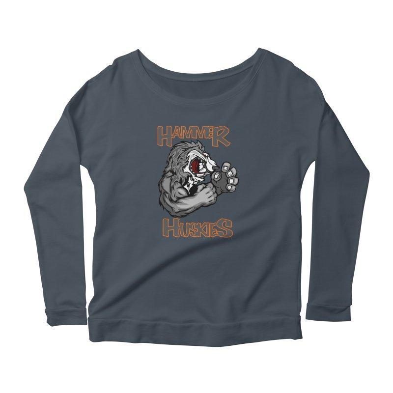 Cartoon Huskie Hands Women's Longsleeve T-Shirt by Hammer Huskies's Artist Shop