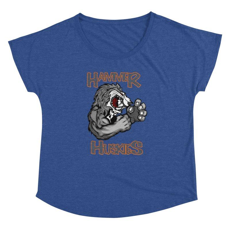 Cartoon Huskie Hands Women's Dolman Scoop Neck by Hammer Huskies's Artist Shop