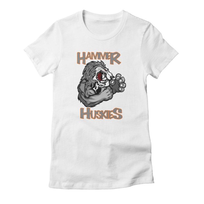 Cartoon Huskie Hands Women's Fitted T-Shirt by Hammer Huskies's Artist Shop