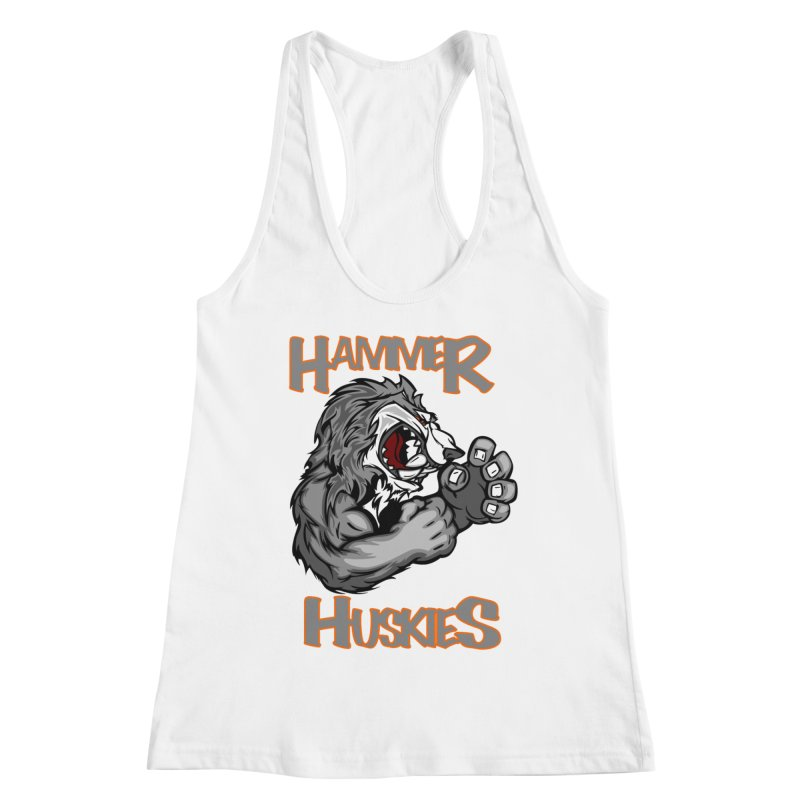 Cartoon Huskie Hands Women's Racerback Tank by Hammer Huskies's Artist Shop