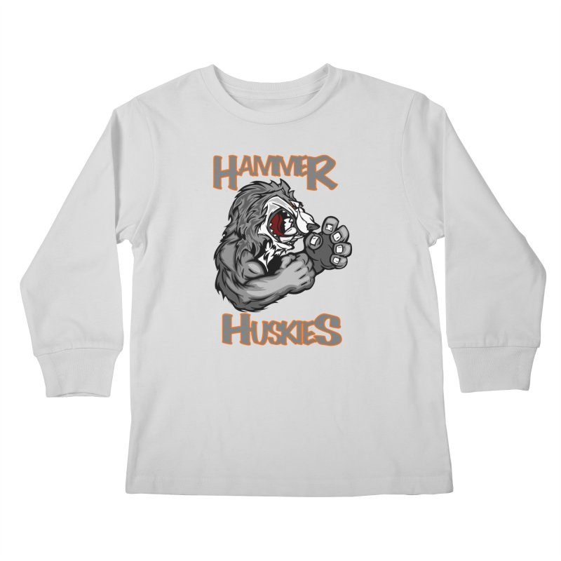 Cartoon Huskie Hands Kids Longsleeve T-Shirt by Hammer Huskies's Artist Shop
