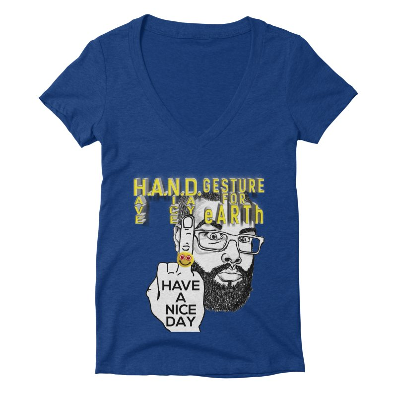 H.A.N.D. Poster supports the HAND GESTURE FOR eARTh Women's Deep V-Neck V-Neck by H.A.N.D. GESTURE FOR eARTh! • View COLLECTIONS Too