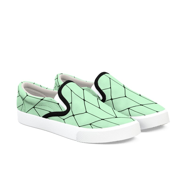 Green Triangles Men's Slip-On Shoes by HANGERMAN NYC