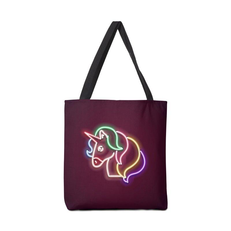Unicorn Neon Accessories Tote Bag Bag by HANGERMAN NYC
