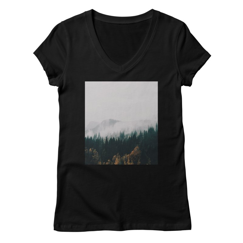 Forest Fog Women's V-Neck by hannahkemp's Artist Shop