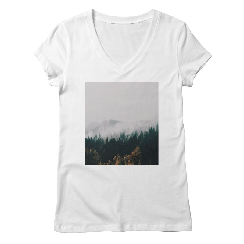 Forest Fog Women's Regular V-Neck by hannahkemp's Artist Shop
