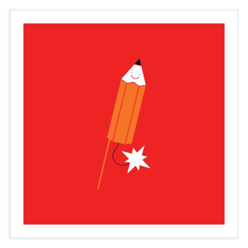Pencil Bomb Print Home Fine Art Print by HappyBombs's Artist Shop