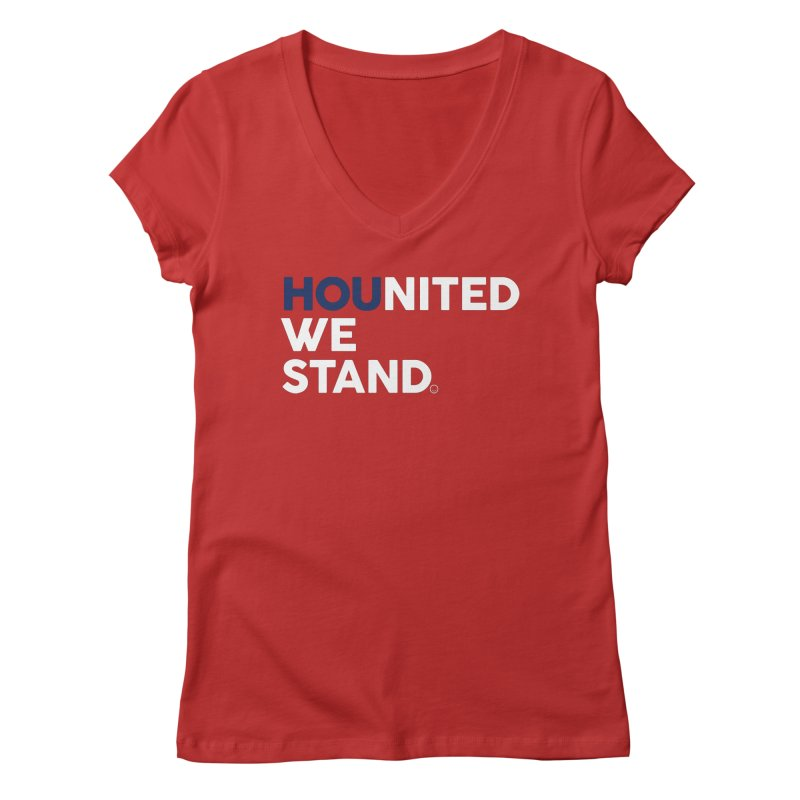 Hounited We Stand - Red  Women's Regular V-Neck by HappyBombs's Artist Shop