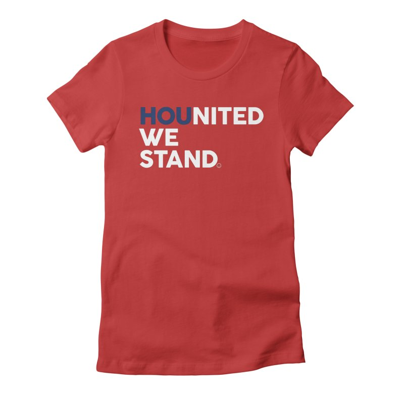 Hounited We Stand - Red  Women's Fitted T-Shirt by HappyBombs's Artist Shop