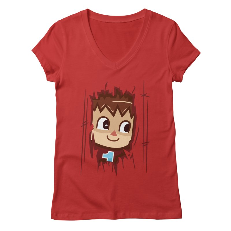 HEEEEERE'S.... THE VILLAGER! Women's V-Neck by haragos's Artist Shop