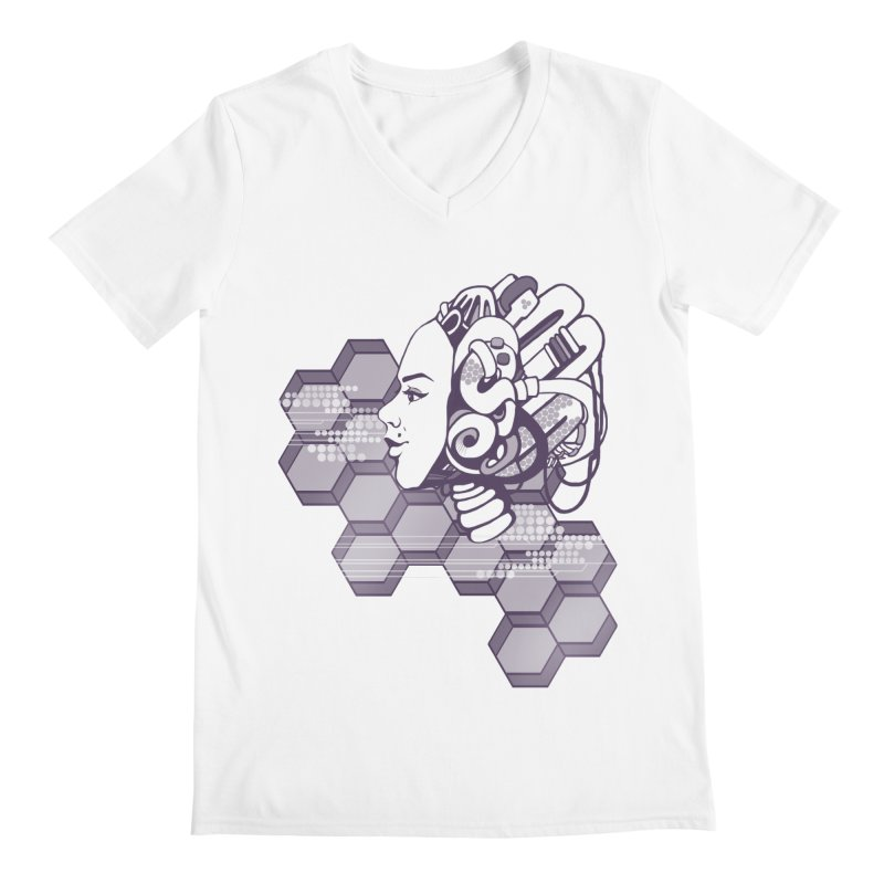 Robo Girl Men's V-Neck by harbingerdesigns's Artist Shop