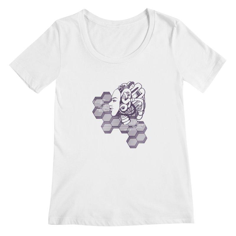 Robo Girl Women's Scoopneck by harbingerdesigns's Artist Shop