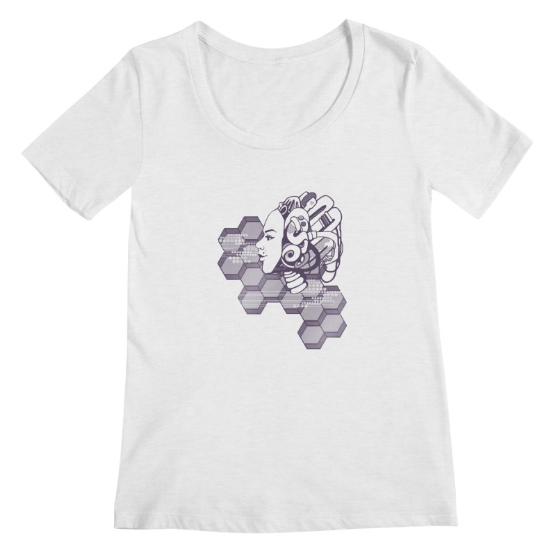 Robo Girl Women's Scoopneck by harbingerdesigns's Artist Shop