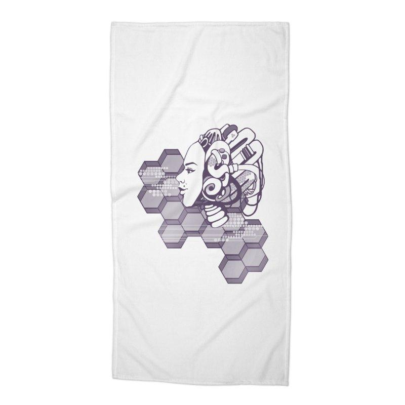 Robo Girl Accessories Beach Towel by harbingerdesigns's Artist Shop