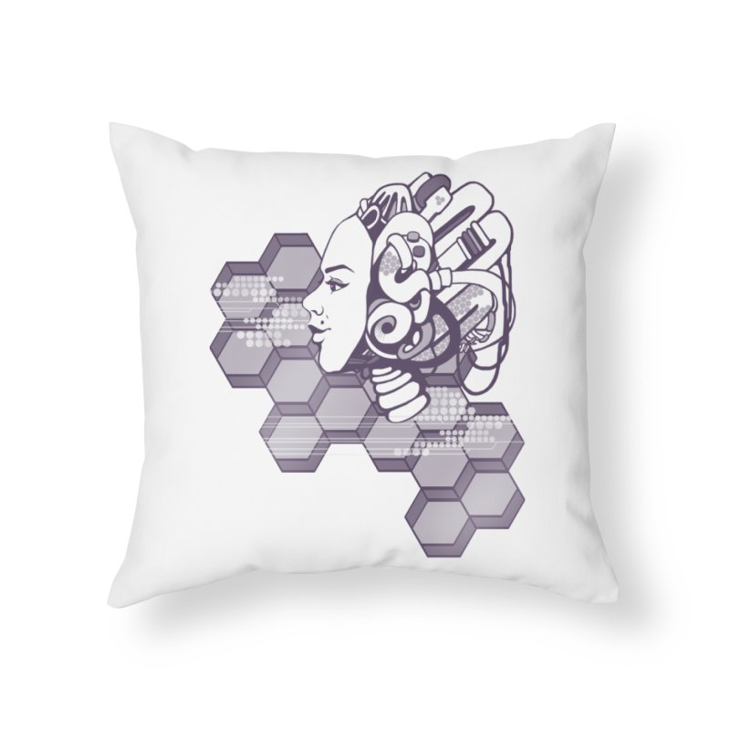 Robo Girl Home Throw Pillow by harbingerdesigns's Artist Shop