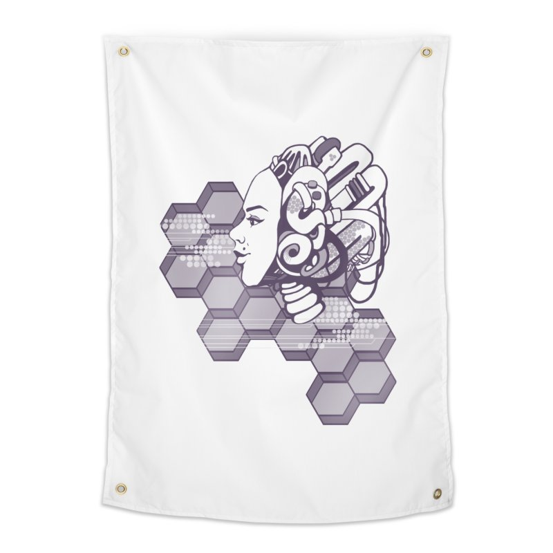 Robo Girl Home Tapestry by harbingerdesigns's Artist Shop