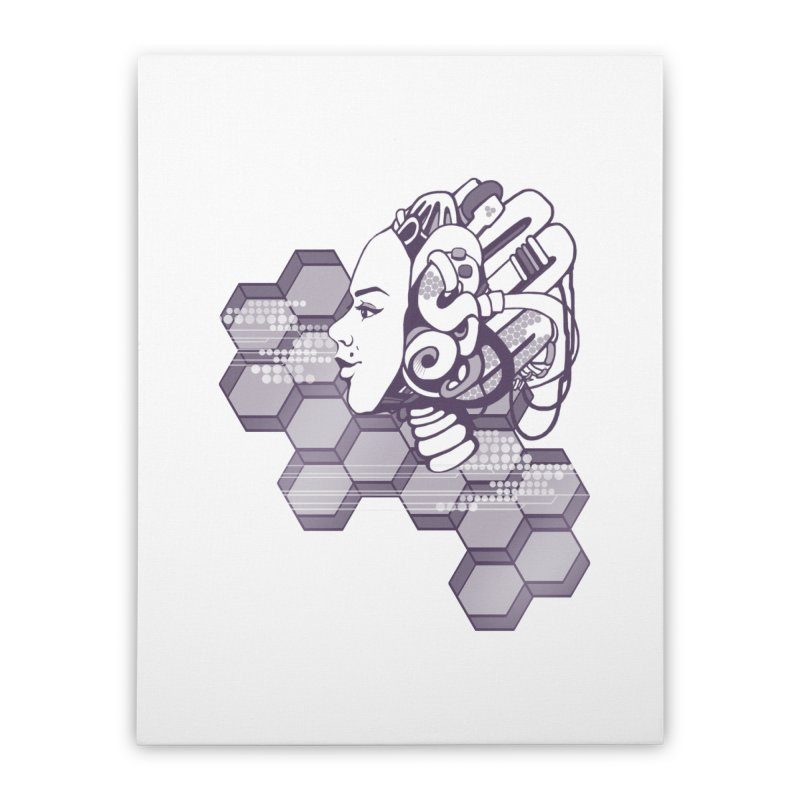 Robo Girl Home Stretched Canvas by harbingerdesigns's Artist Shop