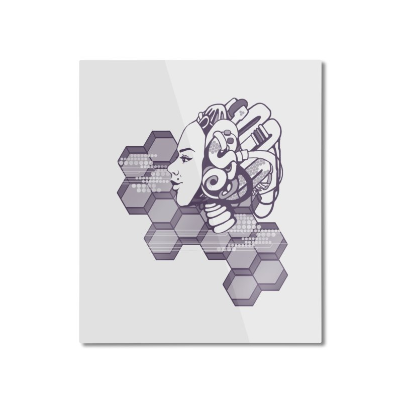 Robo Girl Home Mounted Aluminum Print by harbingerdesigns's Artist Shop