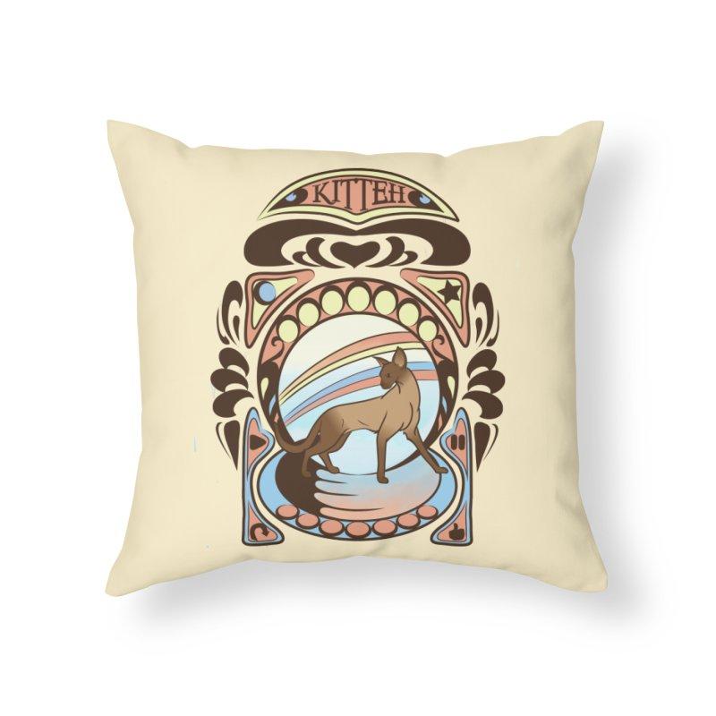 Kitteh Home Throw Pillow by harbingerdesigns's Artist Shop