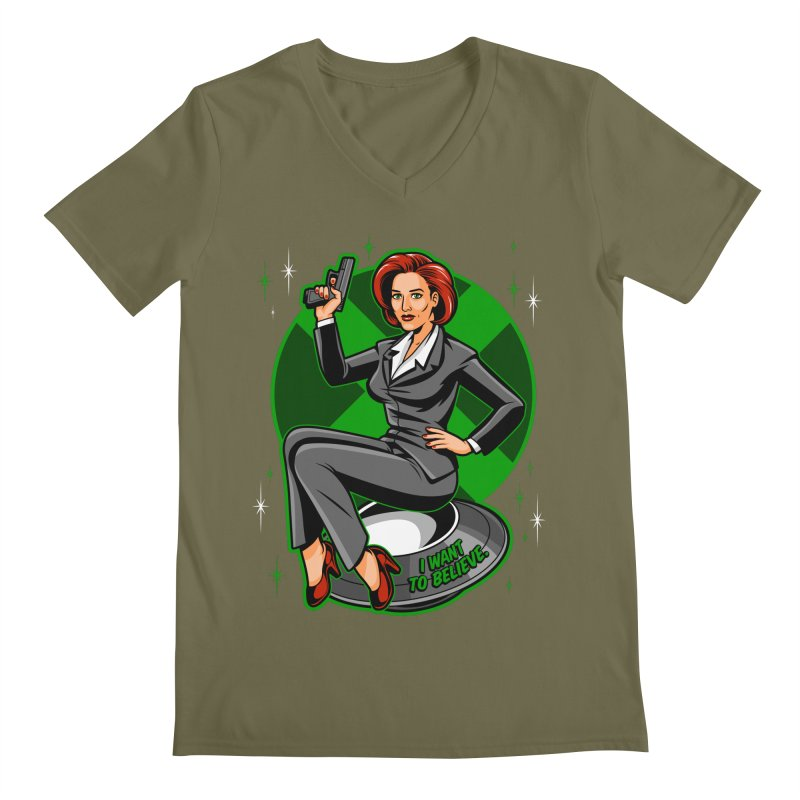 Scully Pin-Up Men's Regular V-Neck by harebrained's Artist Shop