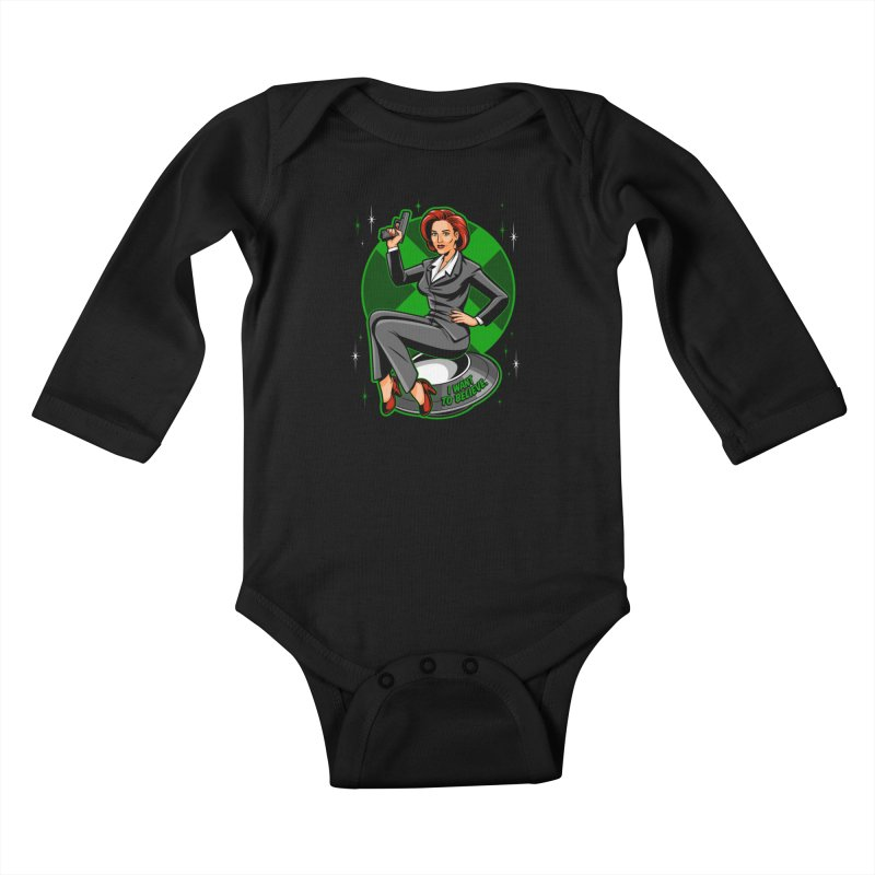 Scully Pin-Up Kids Baby Longsleeve Bodysuit by harebrained's Artist Shop
