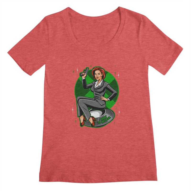 Scully Pin-Up Women's Regular Scoop Neck by harebrained's Artist Shop