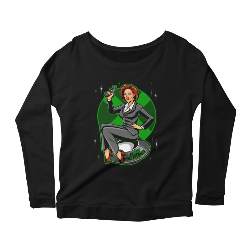 Scully Pin-Up Women's Scoop Neck Longsleeve T-Shirt by harebrained's Artist Shop
