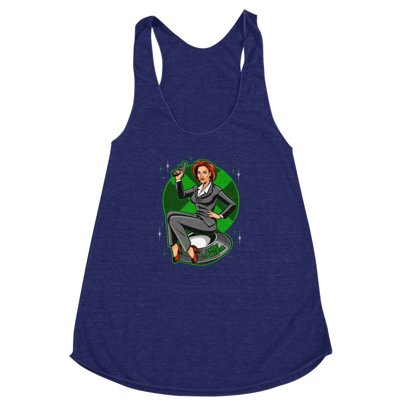 Scully Pin-Up Women's Racerback Triblend Tank by harebrained's Artist Shop