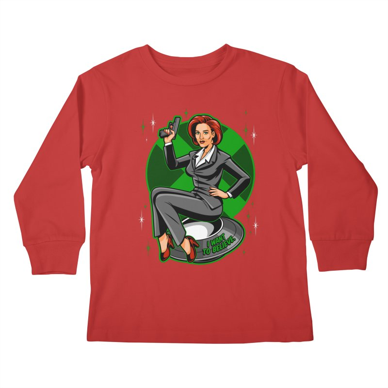 Scully Pin-Up Kids Longsleeve T-Shirt by harebrained's Artist Shop