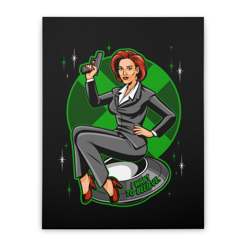 Scully Pin-Up Home Stretched Canvas by harebrained's Artist Shop